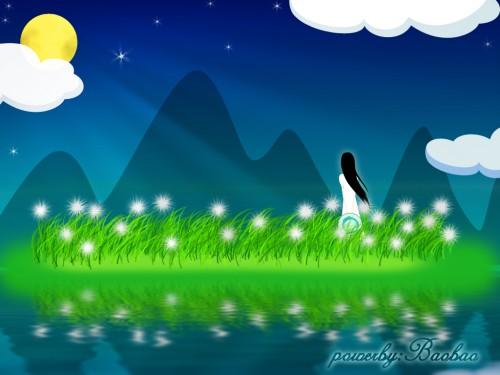 月夜少女,梦幻手绘壁纸